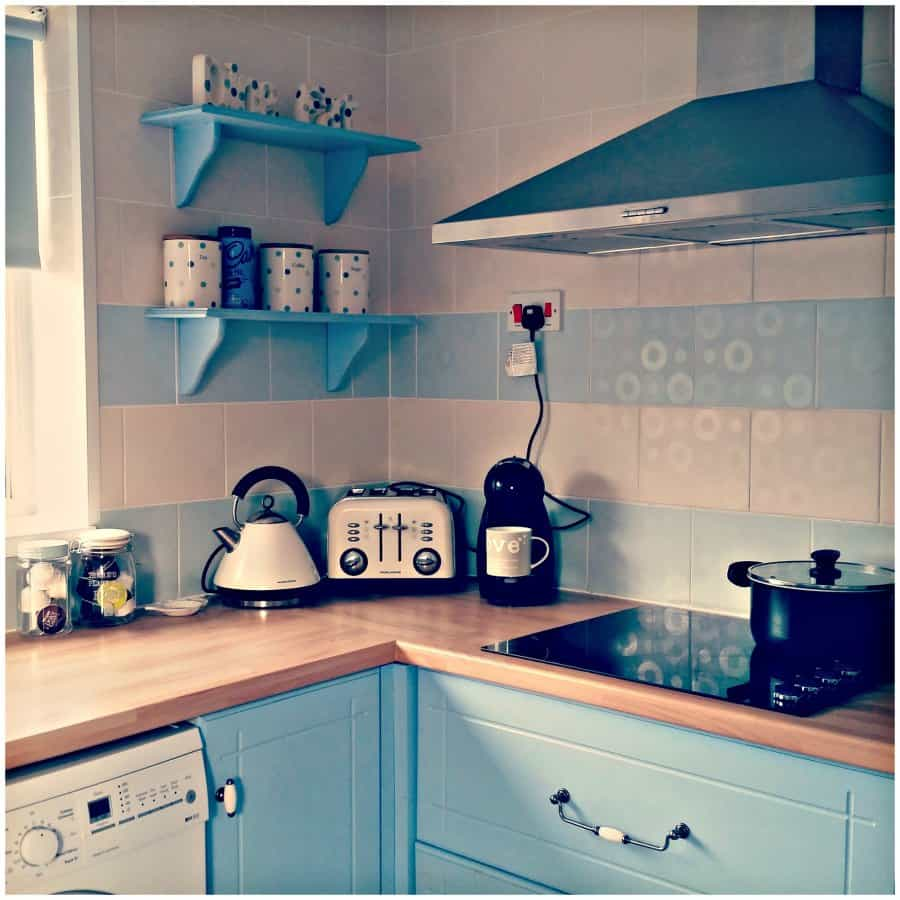 DIY Blue kitchen project after photos