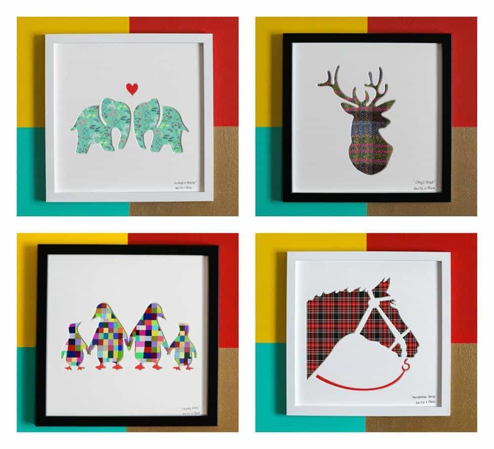 Bertie and Jack framed pictures with animals on