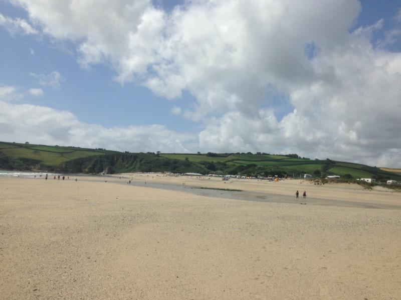 Pentewan beach with a cloudy sky Cornwall