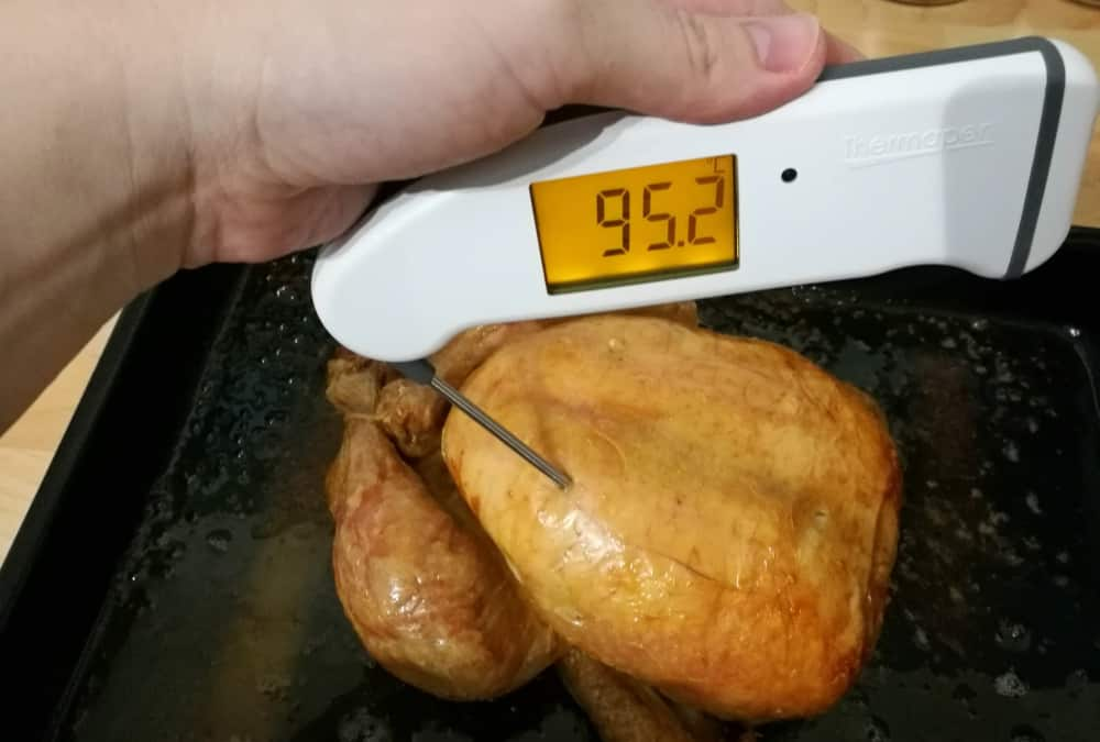 Thermapen thermometer in chicken