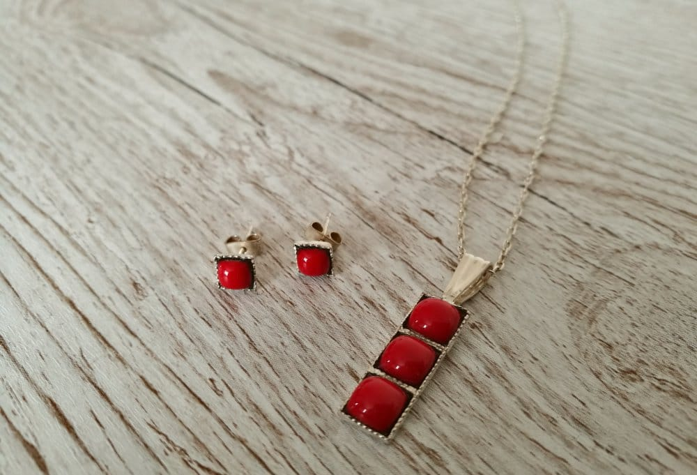 Artisan Enamels necklace and earrings