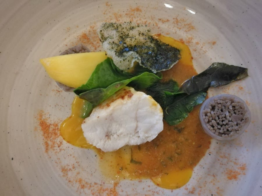 Curried monkfish at The Headland Hotel