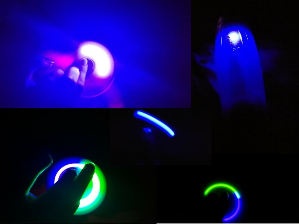 Zing fidget style toys in the dark lit up