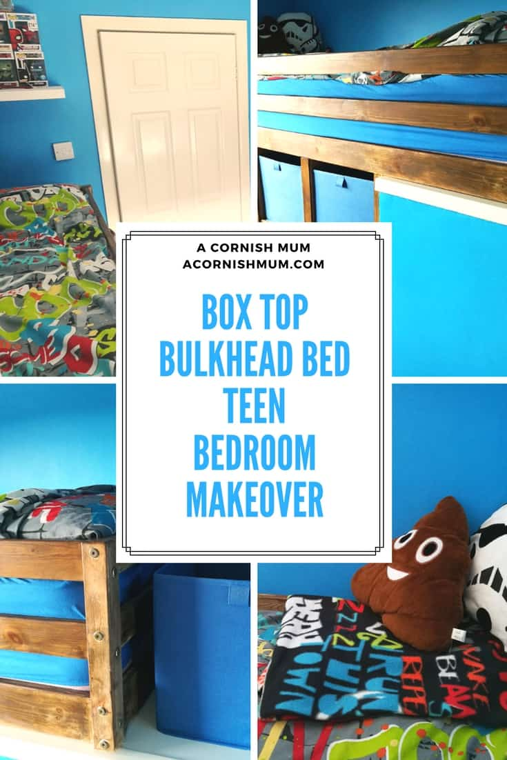 Box Top Bulkhead bed blue teen room makeover project. Space saving for a box room. Pin Me!