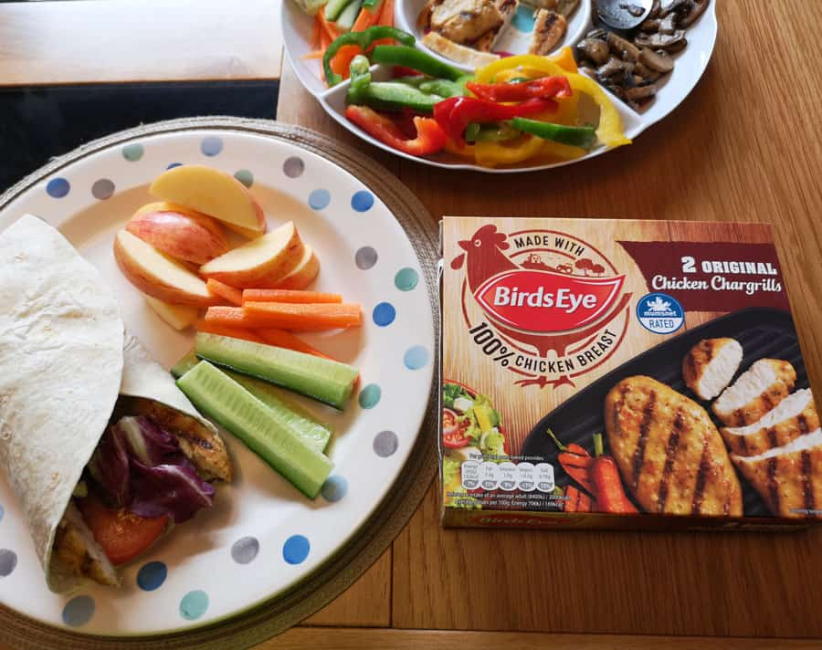Rainbow wraps with fruit and Birdseye Chargrilled chicken