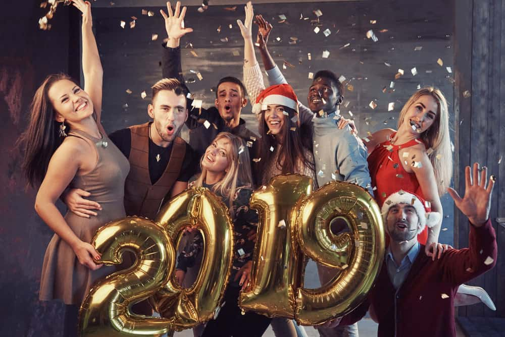 2019 New Year party image with balloon numbers