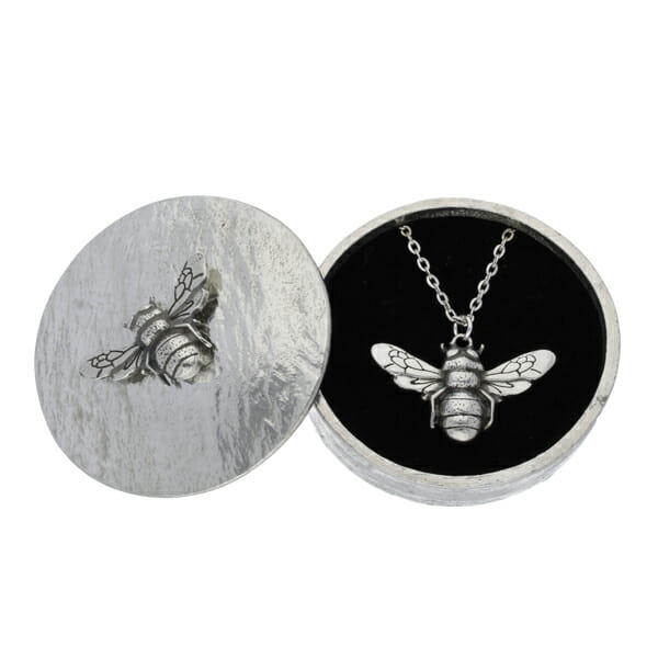 Bee trinket box with pewter bee pendant gift set