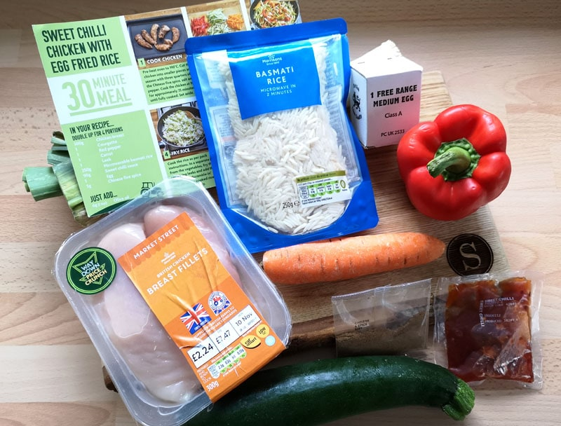 Sweet chilli chicken and egg fried rice ingredients