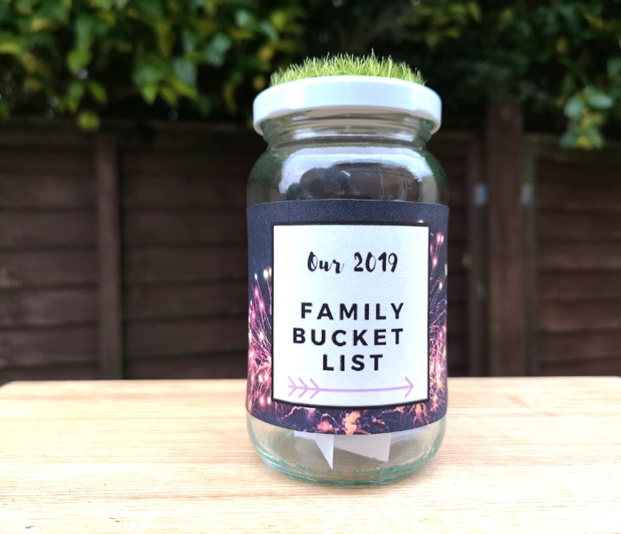 Family bucket list jar 2019