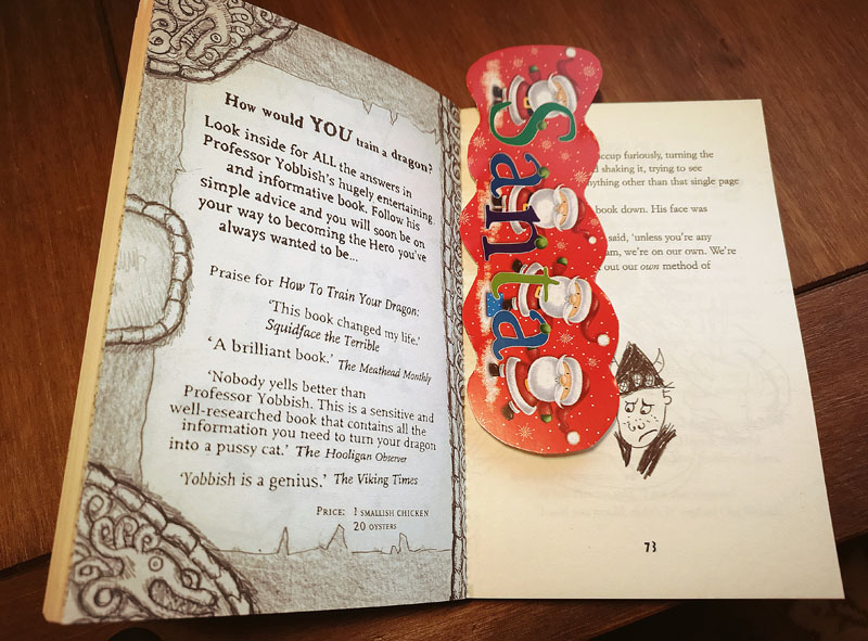 Homemade Christmas bookmark made from an old card