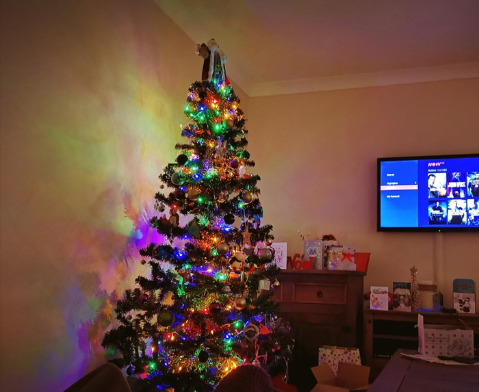 Our Christmas tree and tv