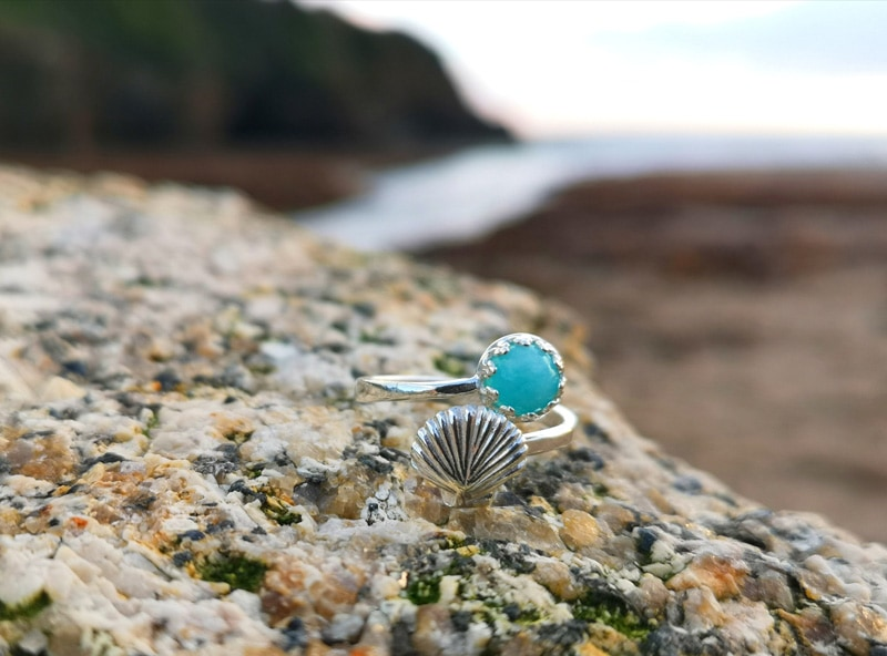 Completed Kernowcraft ring at the beach