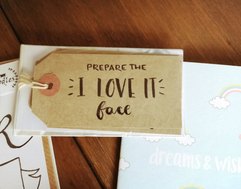 Prepare the I Love It Face gift tags