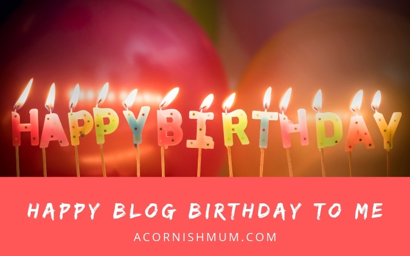 Happy blog birthday to me title image - birthday candles and balloons in the background