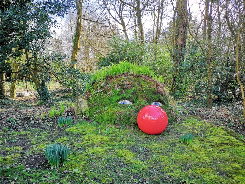 The giant at Heligan in a red nose