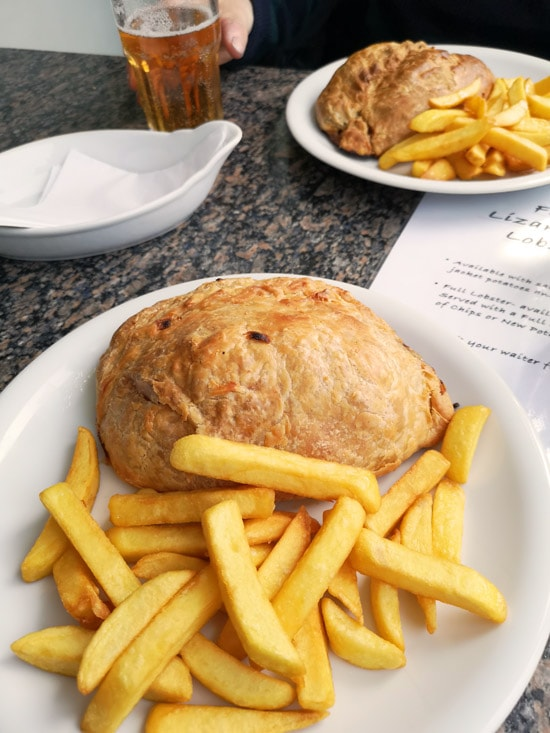 Giant pasty and chips - Polpeor cafe